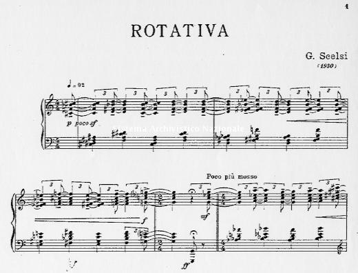 Prima pagina della partitura Rotativa di Giacinto Scelsi, trascrizione per pianoforte, G.Ricordi & C., Milano 1933 (Fondazione Isabella Scelsi, Archivio, Fondo Giacinto Scelsi)