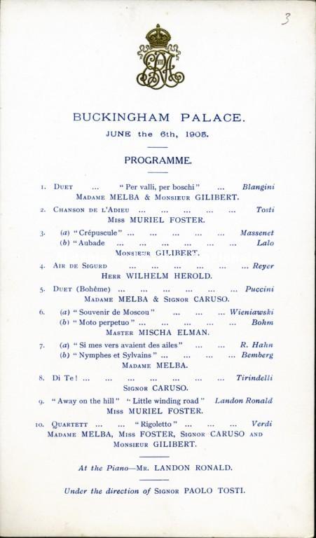 Programma di sala a stampa del concerto diretto da Francesco Paolo Tosti tenutosi a Buckingam Palace, Londra 6 giugno 1905 (Istituto nazionale tostiano, Fondo Francesco Paolo Tosti)