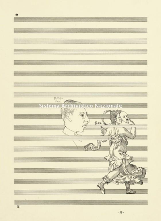 Deragliamento di Francesco Pennisi, opera realizzata a china su carta lucida, 1984 (Accademia nazionale di Santa Cecilia, Fondo Francesco Pennisi)