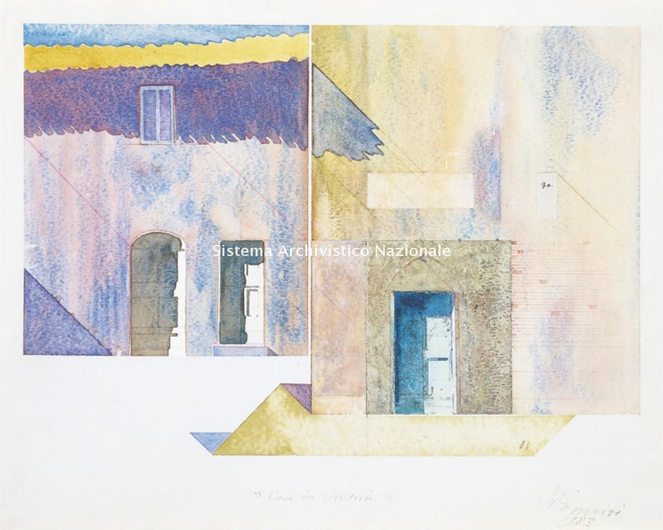 Case in Umbria, acquarello su cartone di Francesco Pennisi, 1981 (Privato, Fondo Francesco Pennisi)