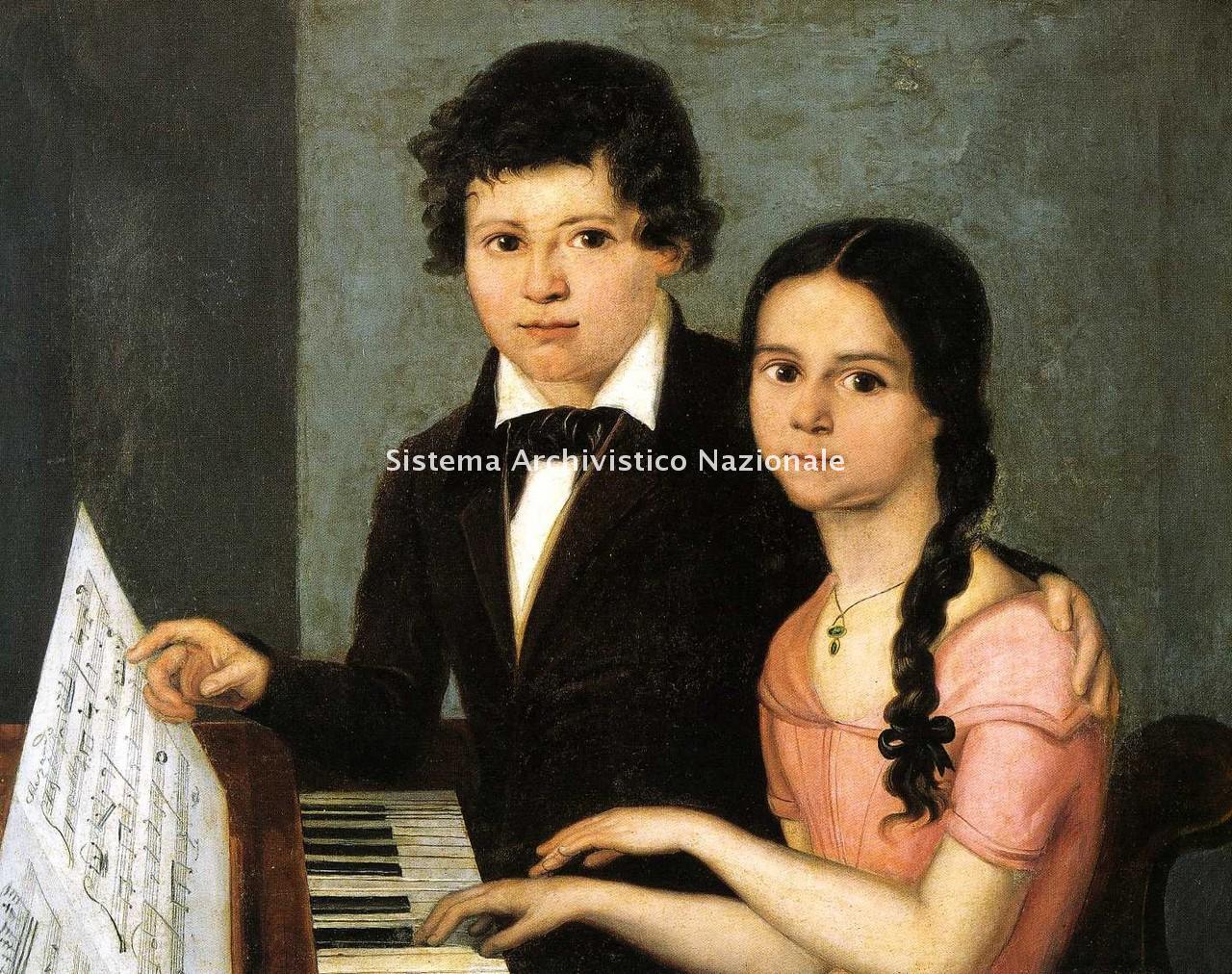 Ritratto di Francesco Podesti raffigurante Giuseppe Verdi adolescente che impartisce lezioni di musica alla marchesina Zaccaria, sec. XIX prima metà (Collezione privata)
