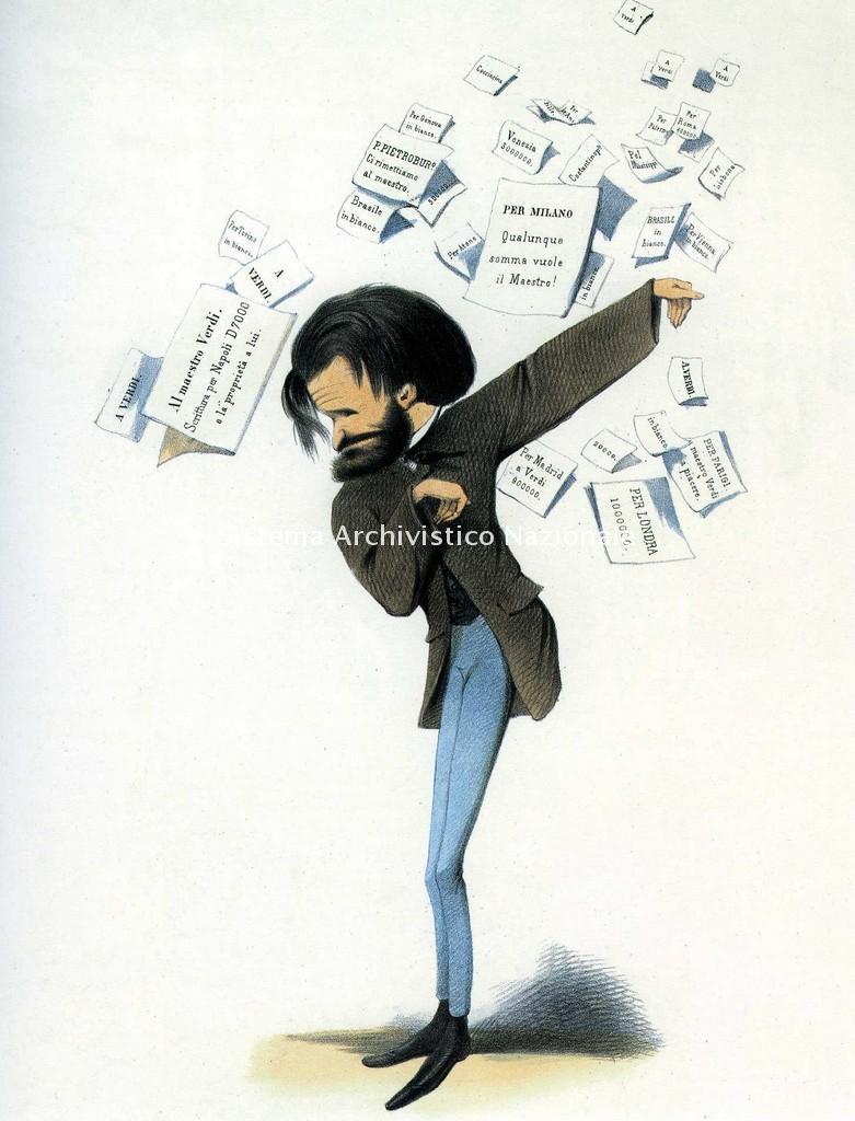 Caricatura litografica di Melchiorre Delfico raffigurante Giuseppe Verdi oppresso dalle proposte di lauti compensi per comporre nuove opere, sec. XIX (Museo Casa Barezzi)