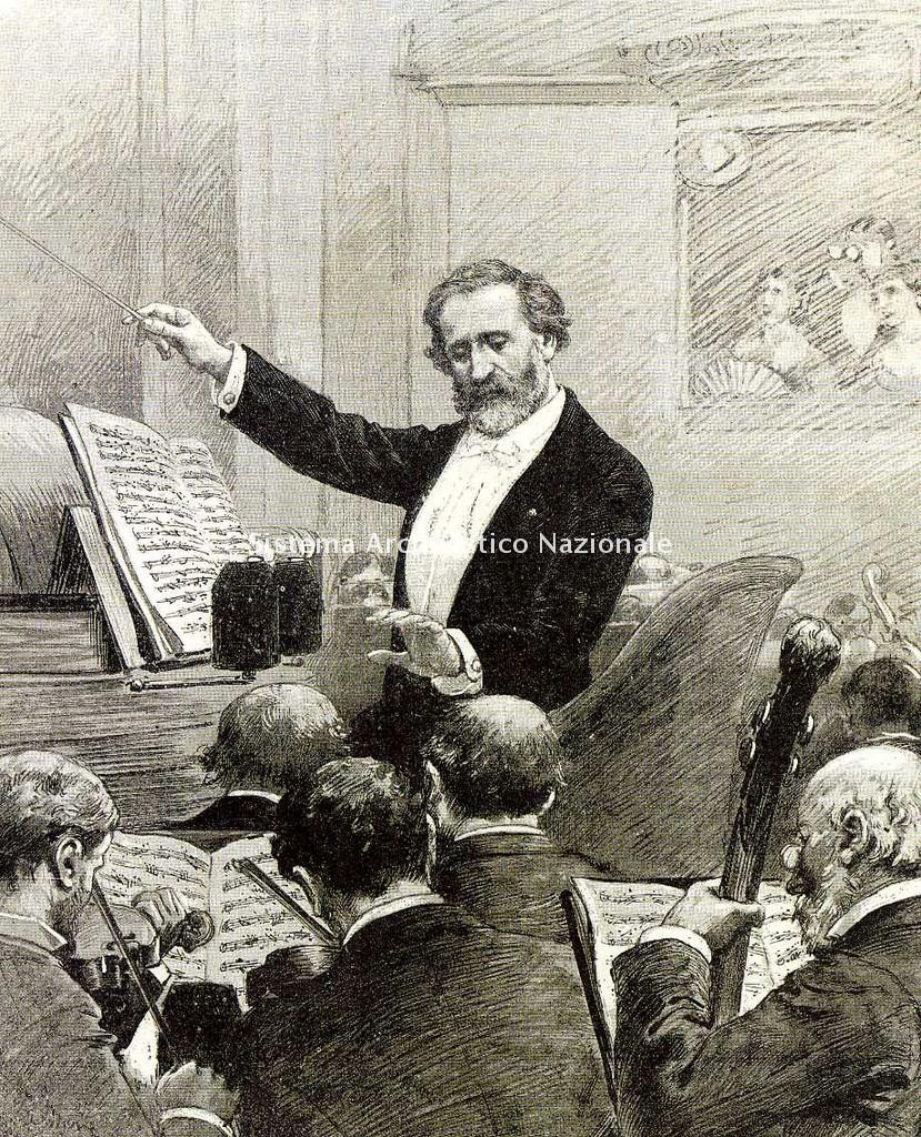 Giuseppe Verdi dirige l'orchestra alla prima rappresentazione di Aida all'Opéra di Parigi in un disegno di Adrien Marie pubblicato in