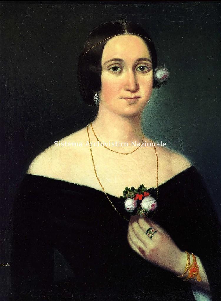 Ritratto di Giuseppina Strepponi di K. Gyurkovich, soprano e seconda moglie di Giuseppe Verdi, sec. XIX seconda metà (Museo Casa Barezzi)