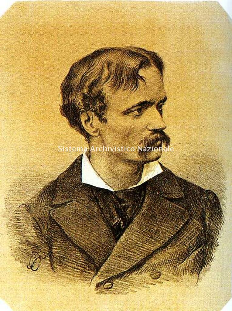 Ritratto litografico di Arrigo Boito di Carlo Felice Biscarra, 1875 ca (Collezione privata)