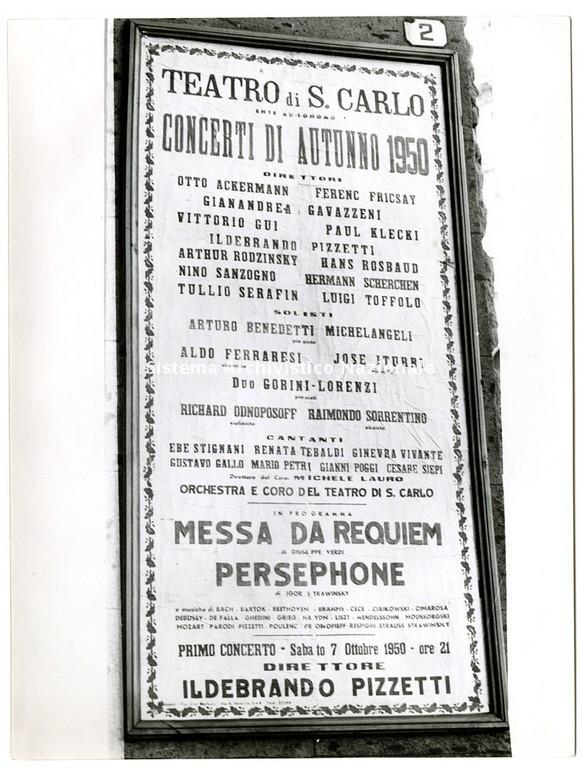 Manifesto dei Concerti di Autunno 1950 al Teatro San Carlo di Napoli. In cartellone musiche di Giuseppe Verdi tra cui la Messa da requiem in programma il 7 ottobre 1950 (Fondazione Teatro di San Carlo)