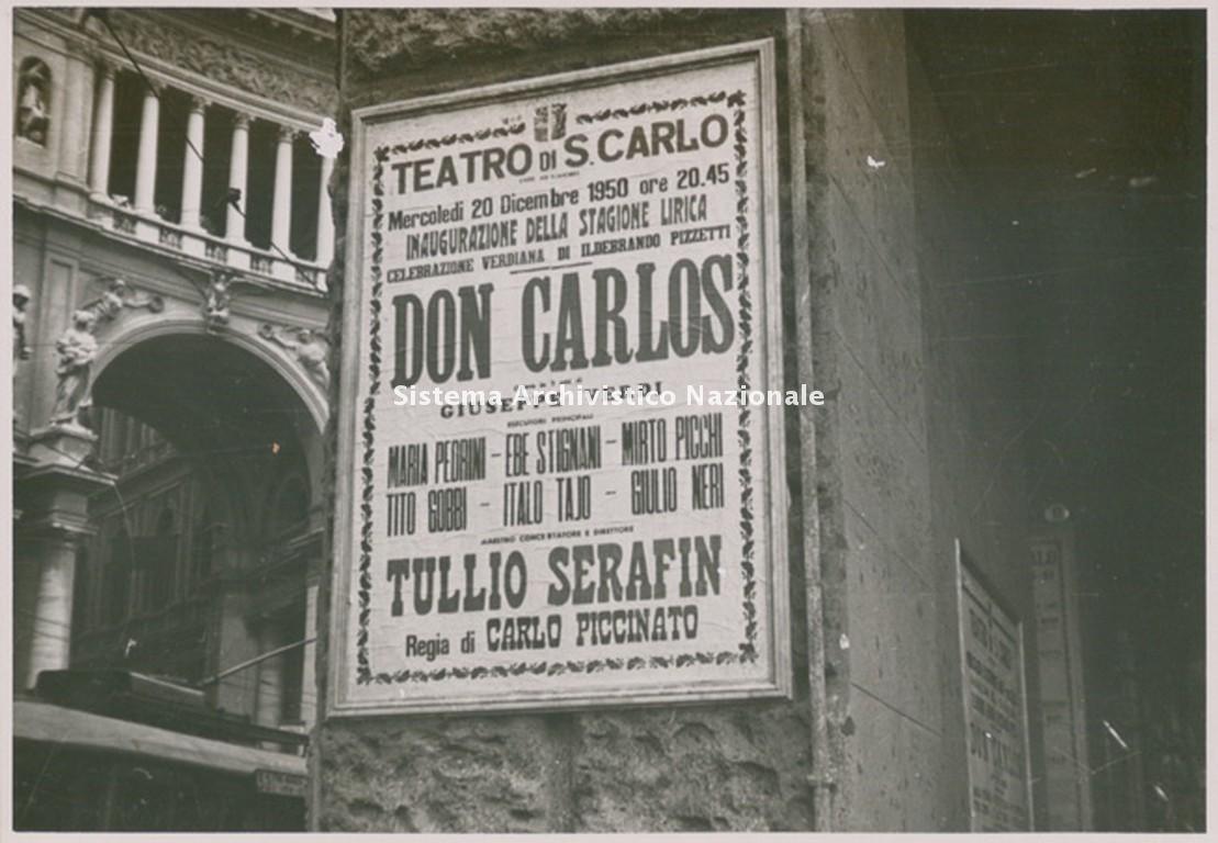 Manifesto del Don Carlos di Giuseppe Verdi rappresentato a inaugurazione della stagione lirica 1950-1951 del Teatro San Carlo di Napoli (Fondazione Teatro di San Carlo)